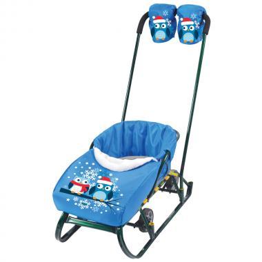 Набор для санок НИКА варежки сиденье Совята голубой 5 НС1