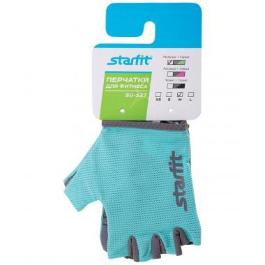 Перчатки для фитнеса STARFIT SU-127, мятный/серый (S)