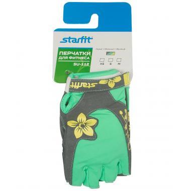 Перчатки для фитнеса STARFIT SU-112, серый/мятный/желтый (S)