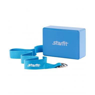 Комплект из блока и ремня для йоги STARFIT FA-104, синий