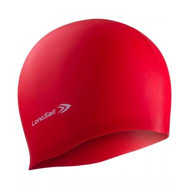 Шапочка для плавания Longsail, силикон, красный