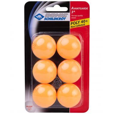 Мяч для настольного тенниса Donic-Schildkröt 3* Avantgarde, оранжевый, 6 шт.