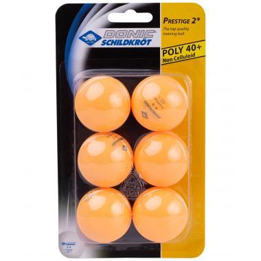 Мяч для настольного тенниса Donic-Schildkröt 2* Prestige, оранжевый (6 шт.)