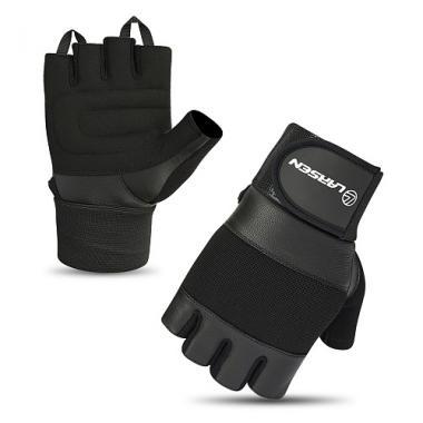 Перчатки для т/а и фитнеса суппорт (нат.кожа) Larsen 16-8343 black (M)