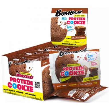 Bombbar Протеиновое печенье (12 шт шоубокс) Упаковка 40 г Шоколадный брауни