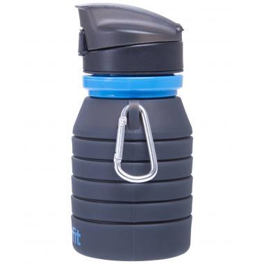 Бутылка для воды STARFIT FB-100, с карабином, складная, серая