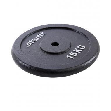 Диск чугунный STARFIT BB-204 15 кг, d=26 мм, черный