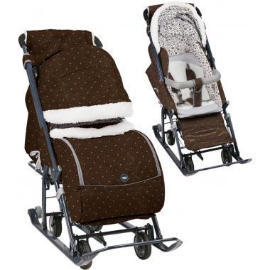 Санки-коляска Ника детям 7-1Б Горошек шоколадный