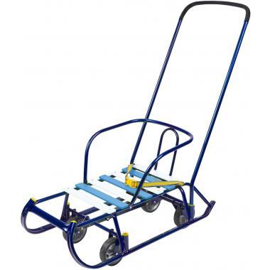 Санки Тимка 6 Универсал синий лак (выдвижные колеса)