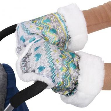Рукавички для детских санок РС1 (вязаный бирюзовый)