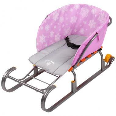 Сиденье для санок без чехла для ног Снежинки розовый СС2-1